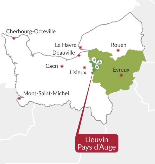 Carte du Lieuvin Pays d'Auge, dans l'Eure en Normandie